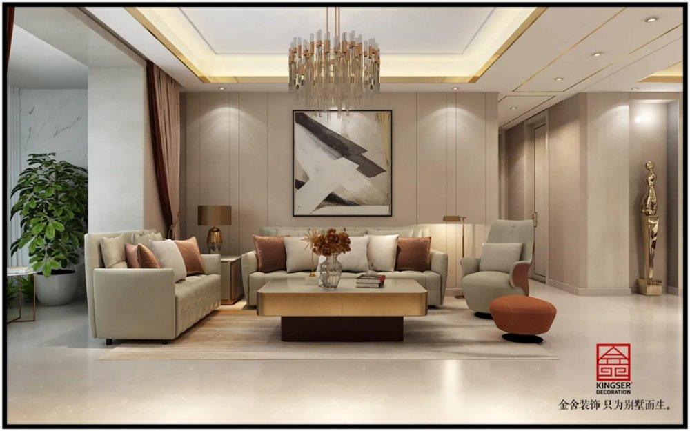 翰林甲第166平米装修轻奢风格-客厅
