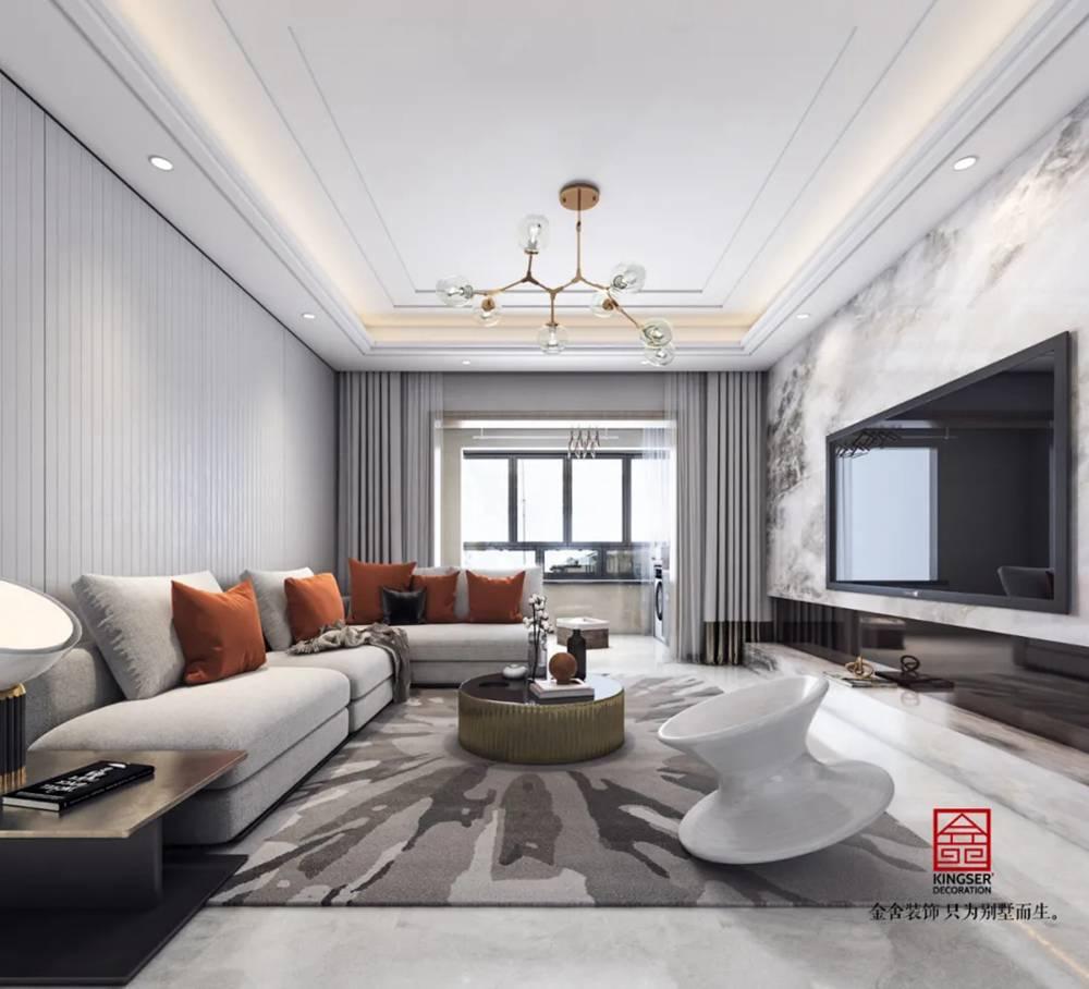翰林甲第133平米装修-现代简约风格-客厅