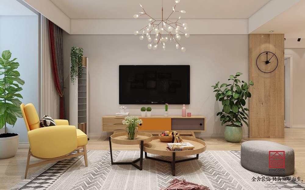 翰玉门庭90平米现代简约风格装修-客厅