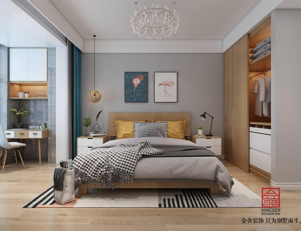 翰玉门庭90平米现代简约风格装修-卧室