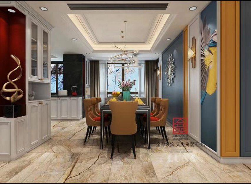 深州国宾壹号200平米装修-美式风格-餐厅