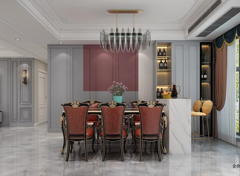 悦倾城140平米装修-美式风格-餐厅