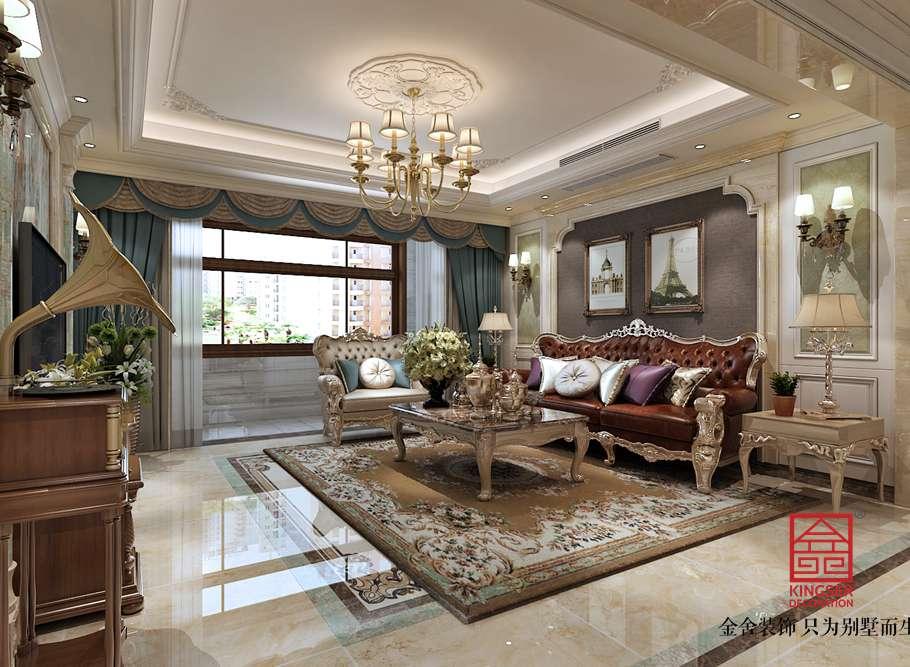 国宾壹号139平米装修-欧式风格-客厅