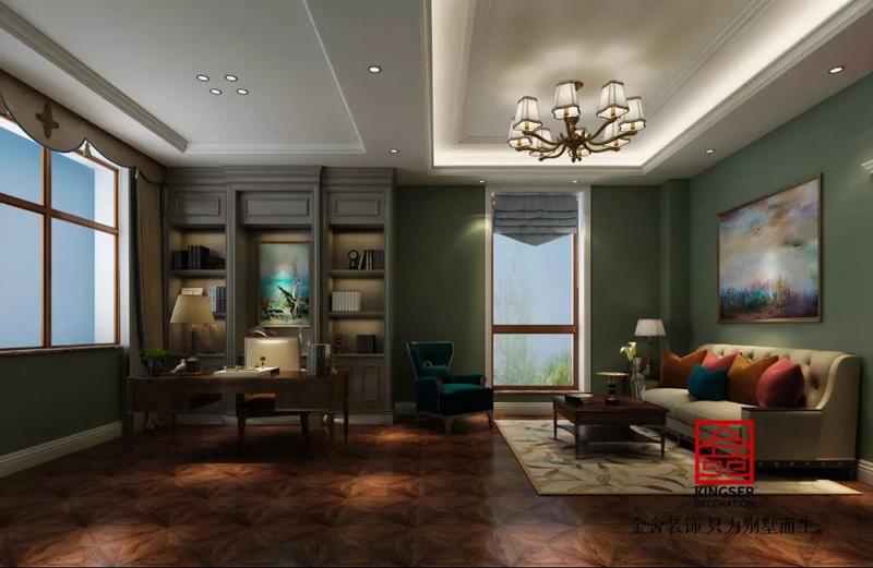 自建别墅800平米装修-美式风格-书房