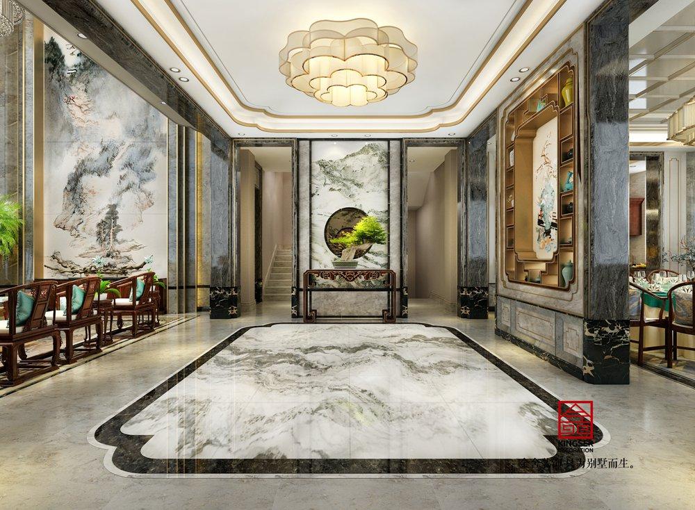 北苑别墅800平米装修-新中式风格-玄关