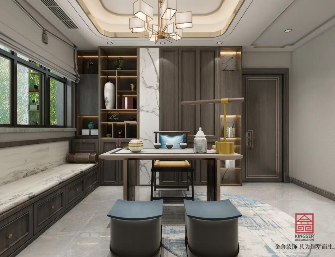 荣盛华府215平米装修-新中式风格-茶室