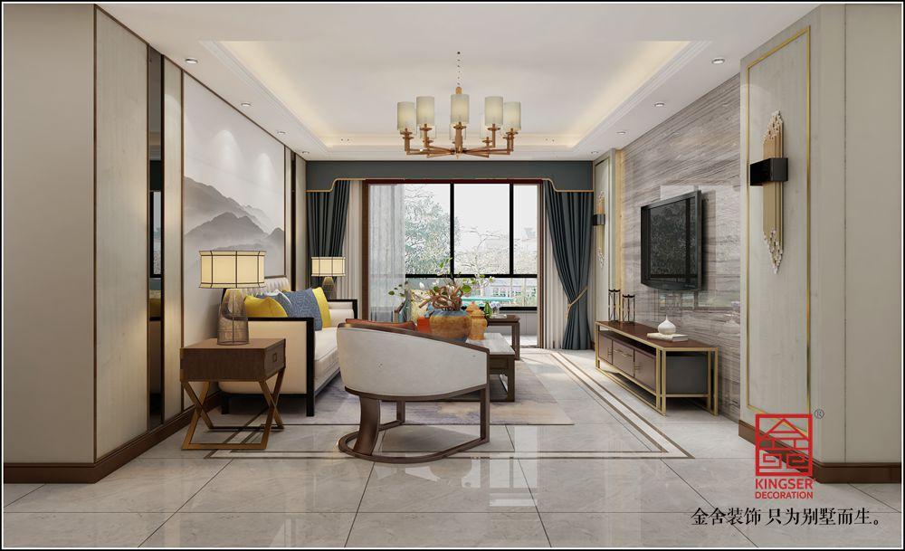 英格兰景城139平米装修-新中式-客厅