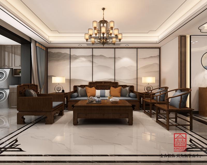 东南智汇城191平米新中式装修-客厅