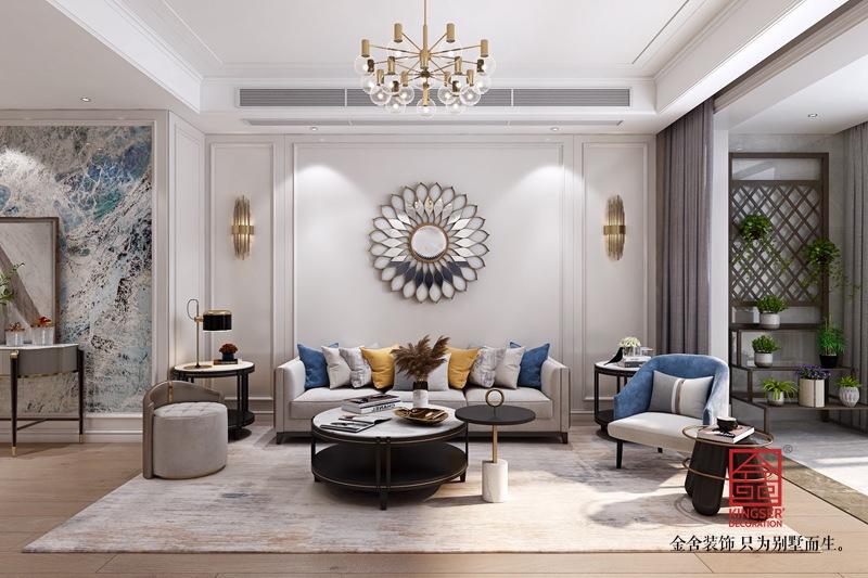 融创中心180平米装修-轻奢风格-客厅