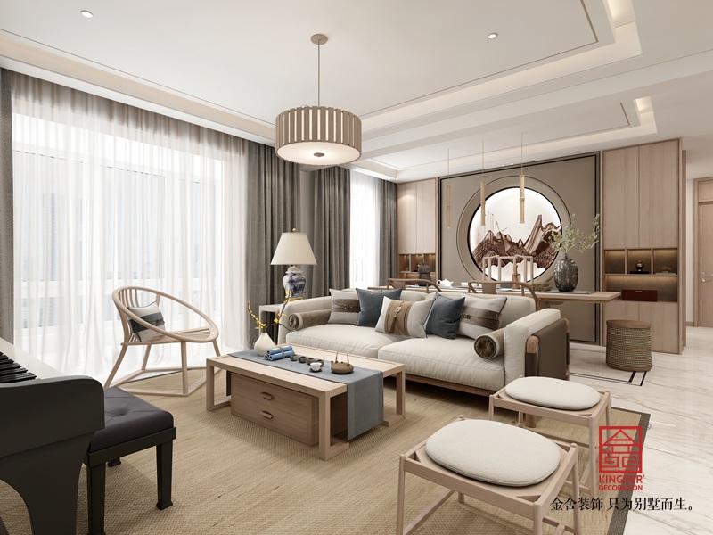 瀚林甲第145平米装修-新中式风格-客厅