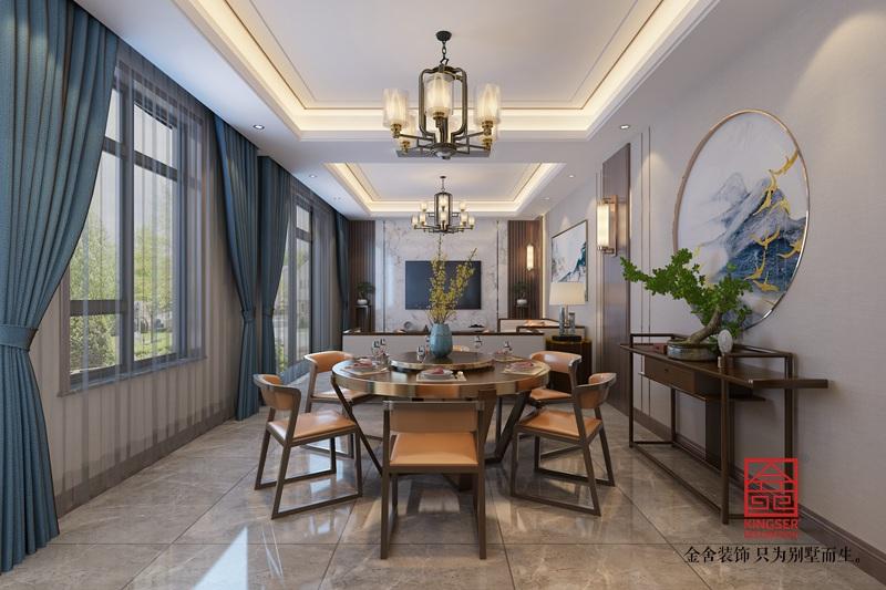 龙湖天宸原著210平米装修-新中式风格-餐厅