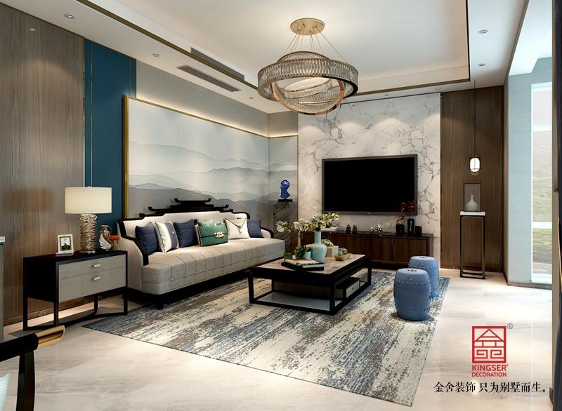 龙湖天辰原著200平新中式风格装修-客厅