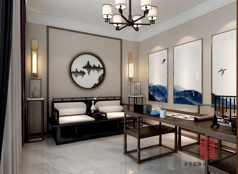 龙湖天辰原著200平新中式风格装修-书房