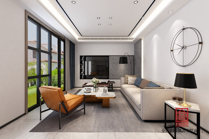 龙湖天辰原著200平米装修-现代简约-客厅