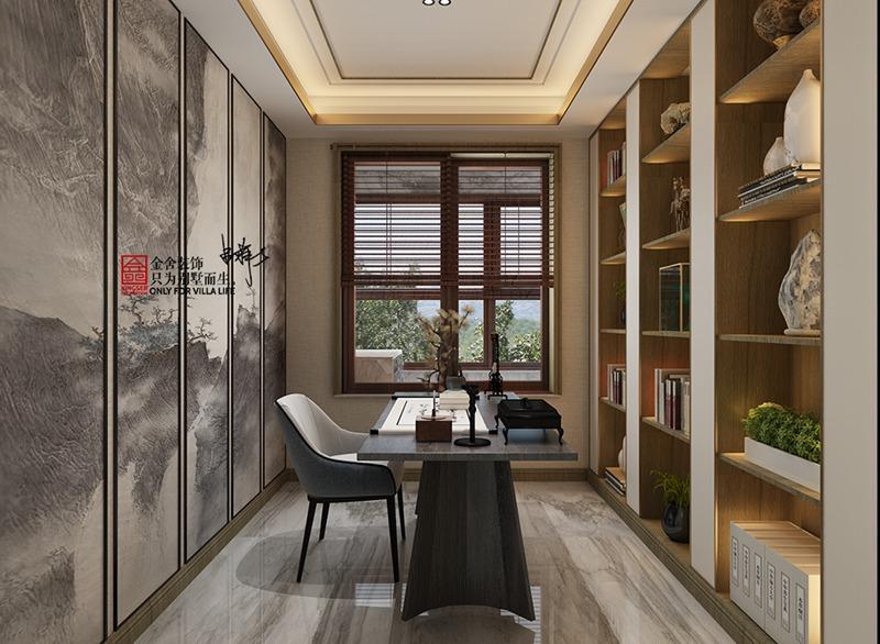 荣盛华府205平米新中式风格装修-书房