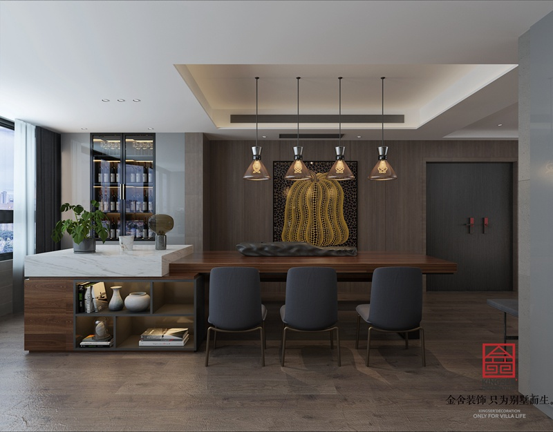 荣盛华府190平米现代极简风格装修-餐厅