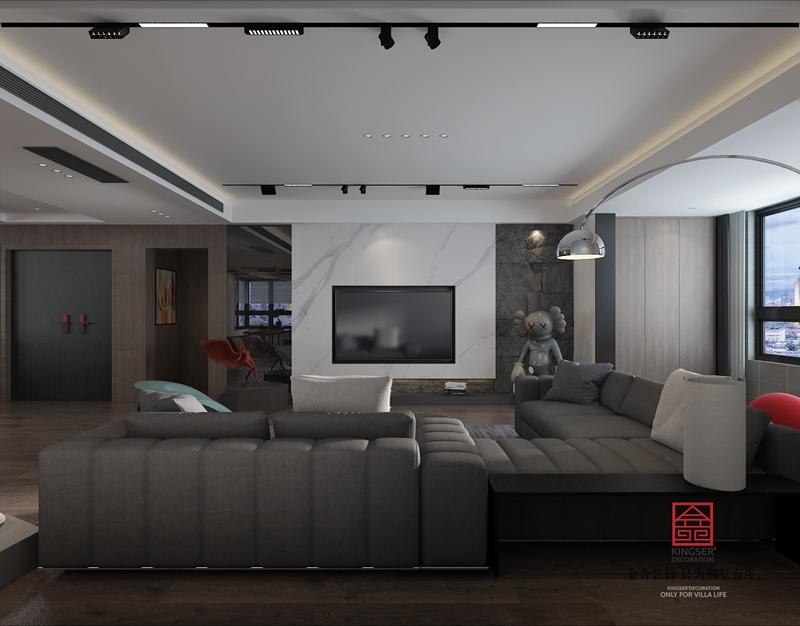 荣盛华府190平米现代极简风格装修-客厅