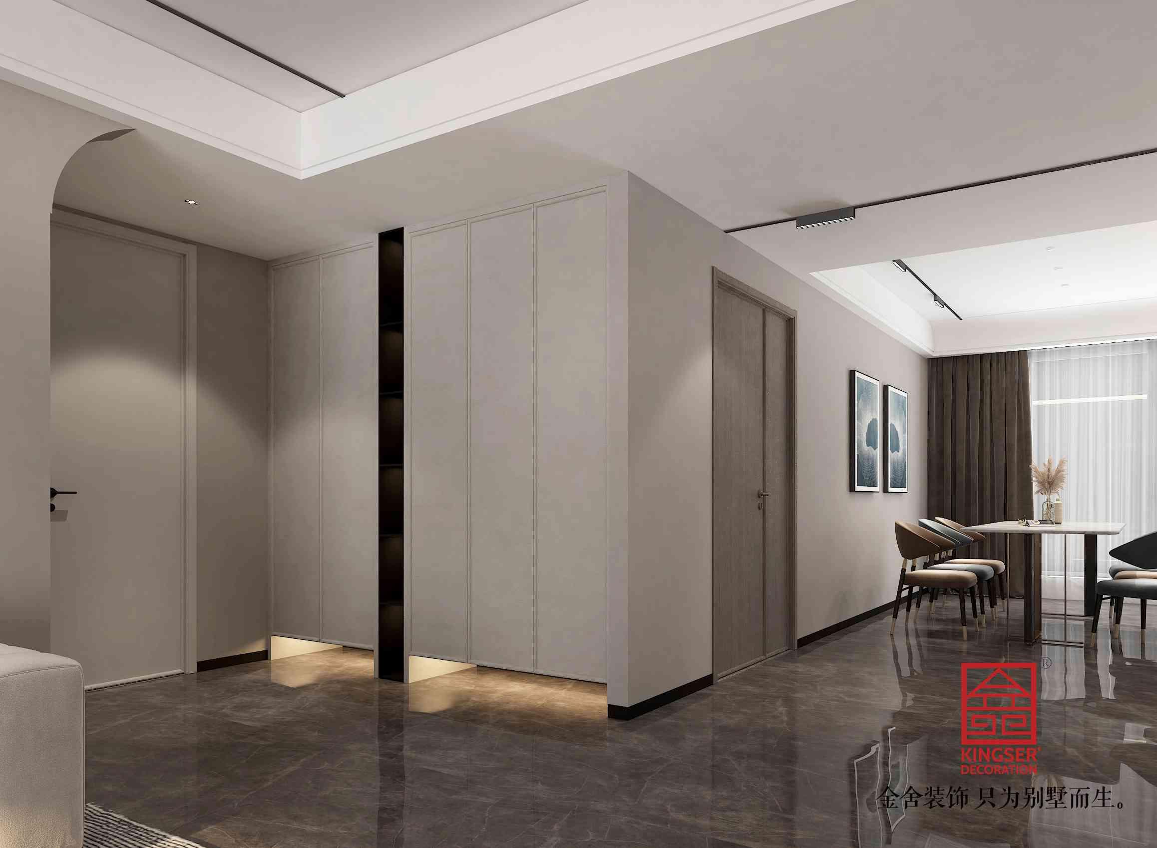 融创中心217平米现代简约装修-玄关