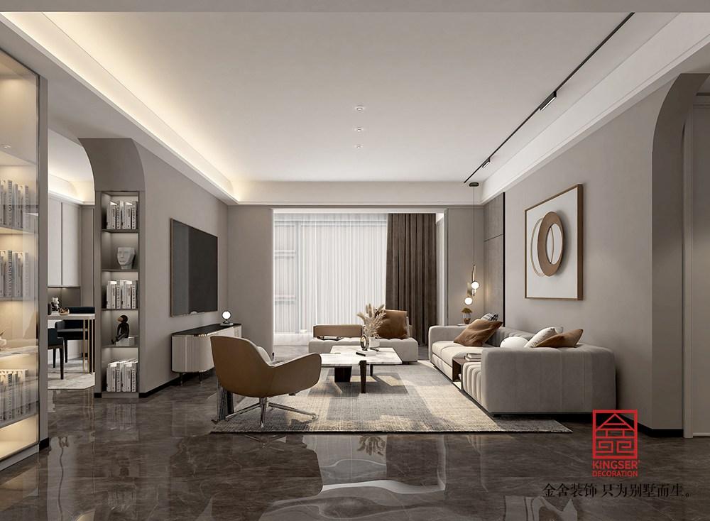 融创中心217平米现代简约装修-客厅