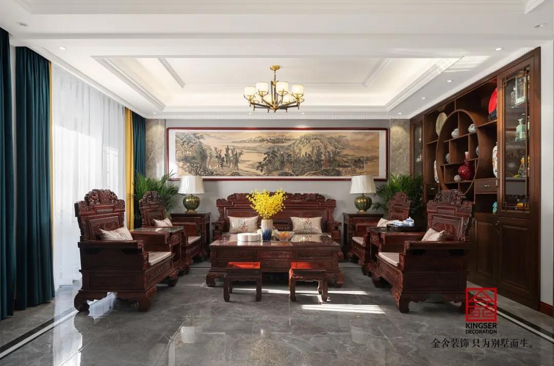 大者300平米新中式别墅装修-客厅
