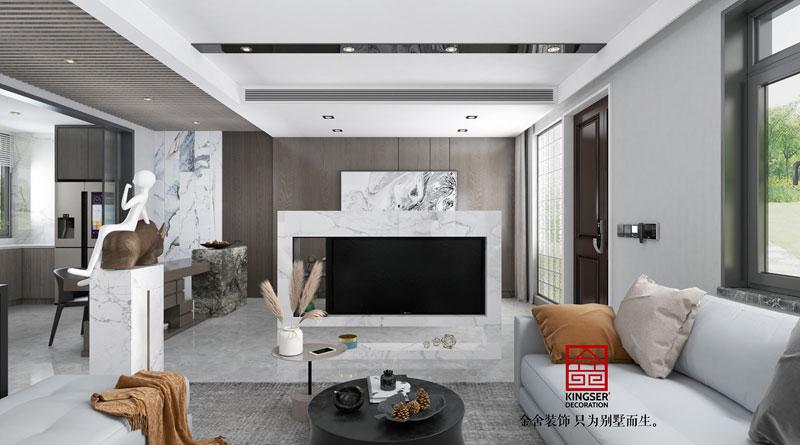 中央云著264平现代风格效果图-客厅