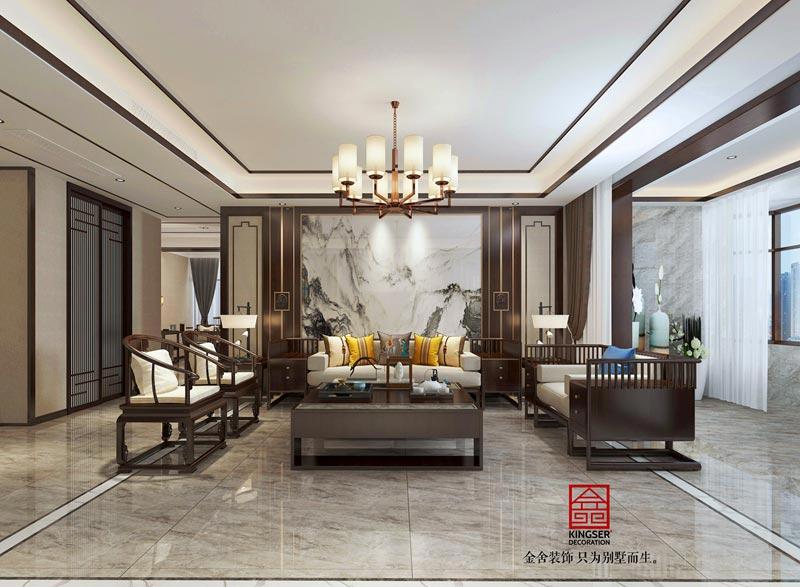 荣盛华府中式风格装修效果图-客厅