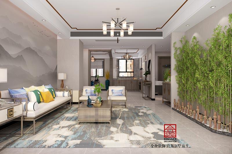 丽景蓝湾现代中式装修效果图-客厅