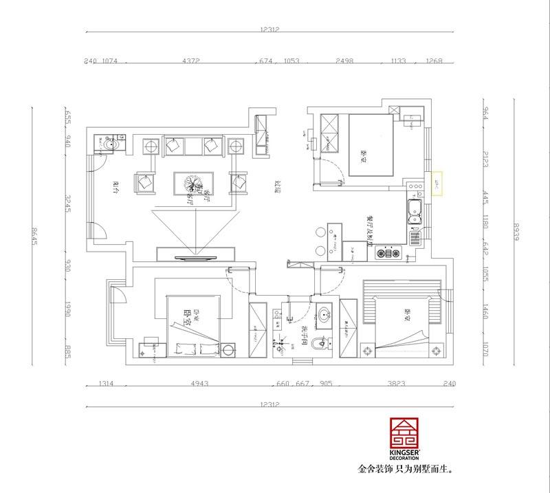 丽景蓝湾114㎡三室两厅一卫户型解析