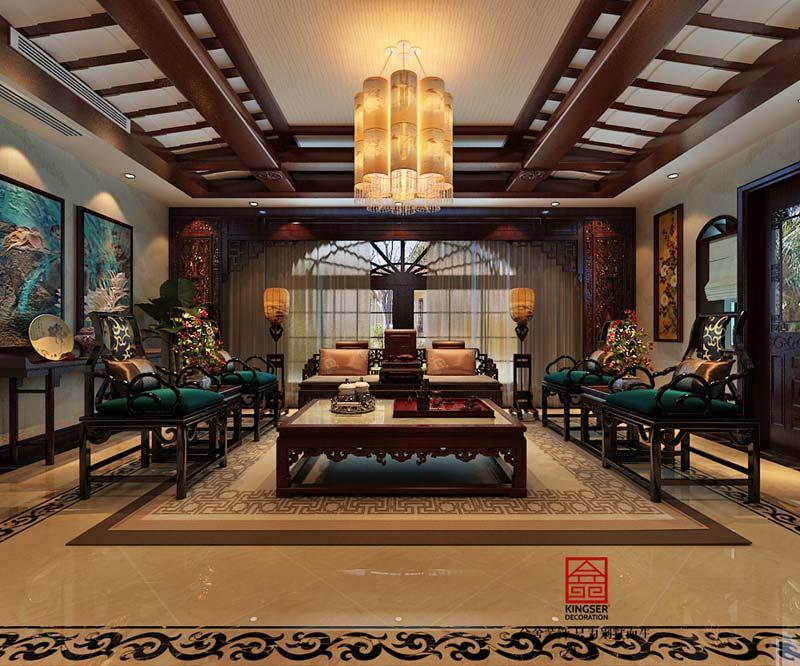 上山间别墅装修-中式风格-客厅