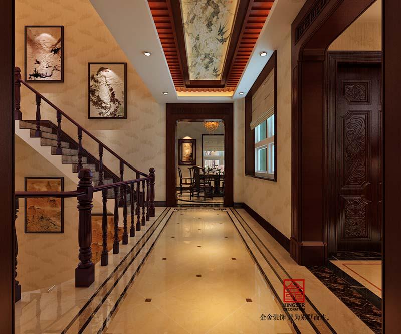 上山间别墅装修-中式风格-走廊