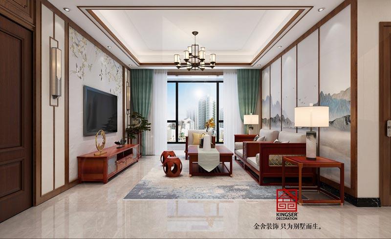 融创中心新中式装修效果图-客厅
