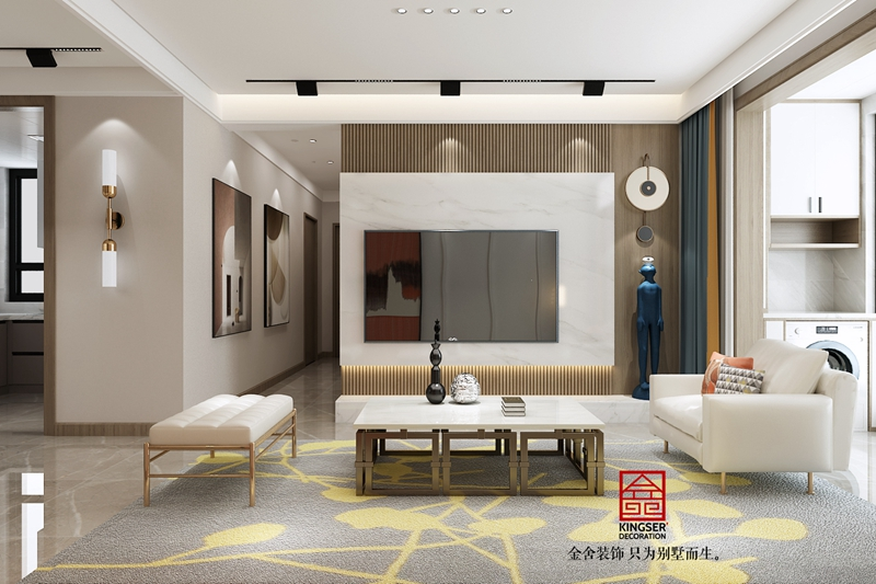 远洋晟庭现代风格装修设计-客厅