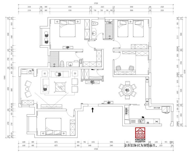 东南智汇城191平米美式轻奢装修户型解析