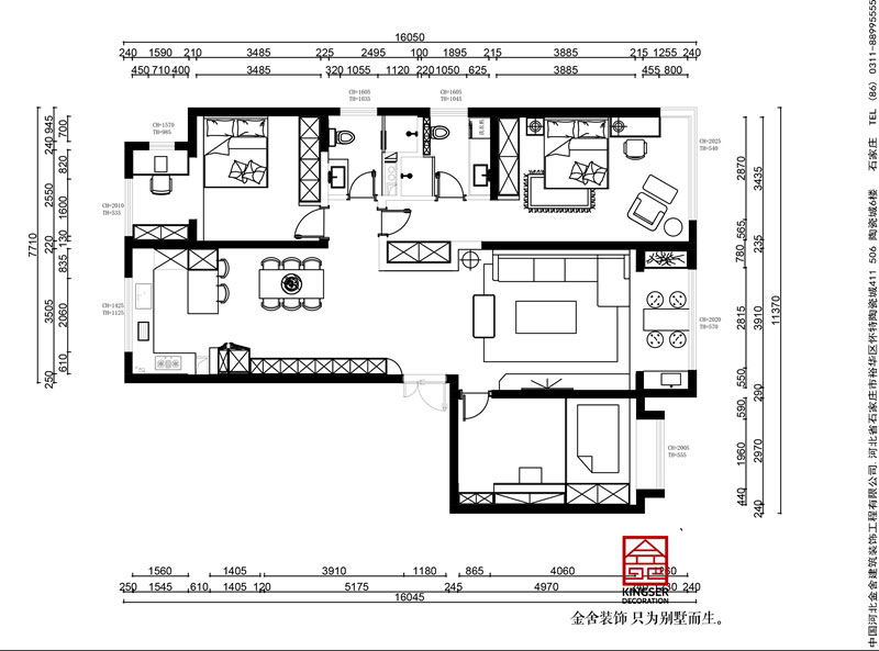 融创中心180平米轻奢风格装修户型解析