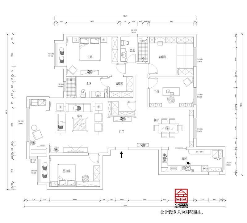 东南智汇城191平米美式轻奢风格装修设计户型解析