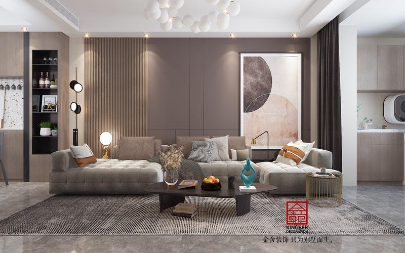 东南智汇城98㎡轻奢风格效果图-客厅